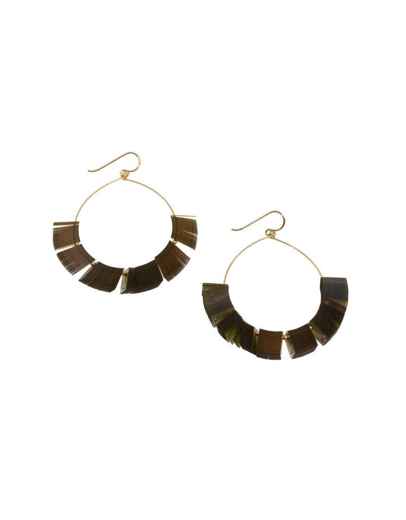Celluloid Dreaming Hoop Sequin Earrings with Gold Plated Spacers
