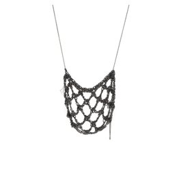 Netted Drop Necklace in Oxidized Silver