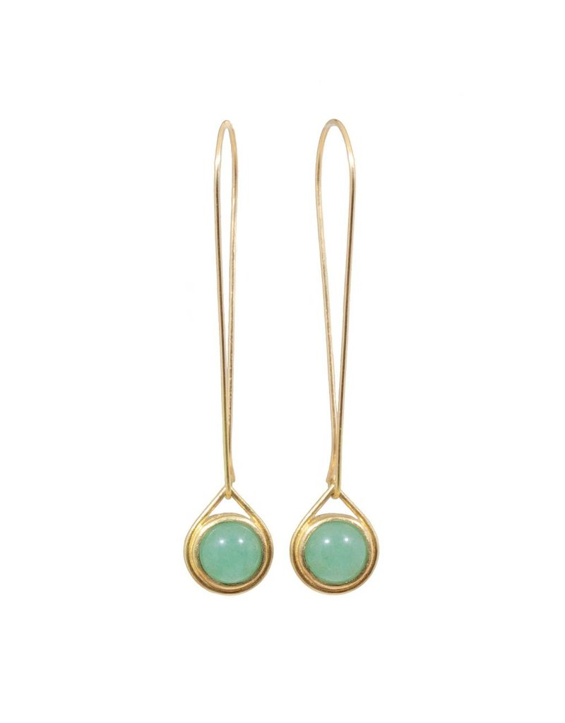 Aventurine Drop Earrings  in 18k Yellow Gold