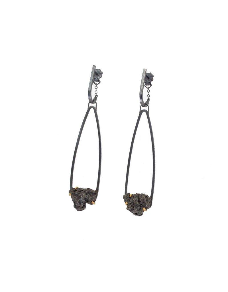 Small Teardrop Steel Splatter Earrings