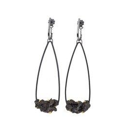 Long Teardrop Steel Splatter Earrings