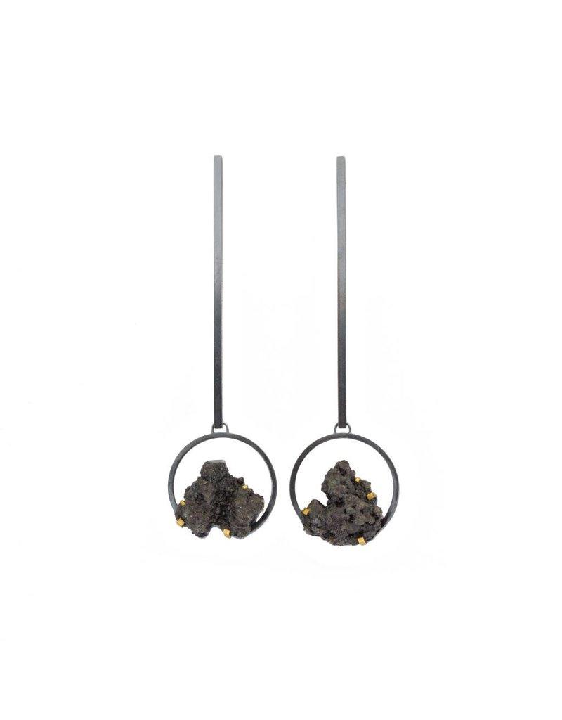 Circle Steel Splatter Dangle Earrings
