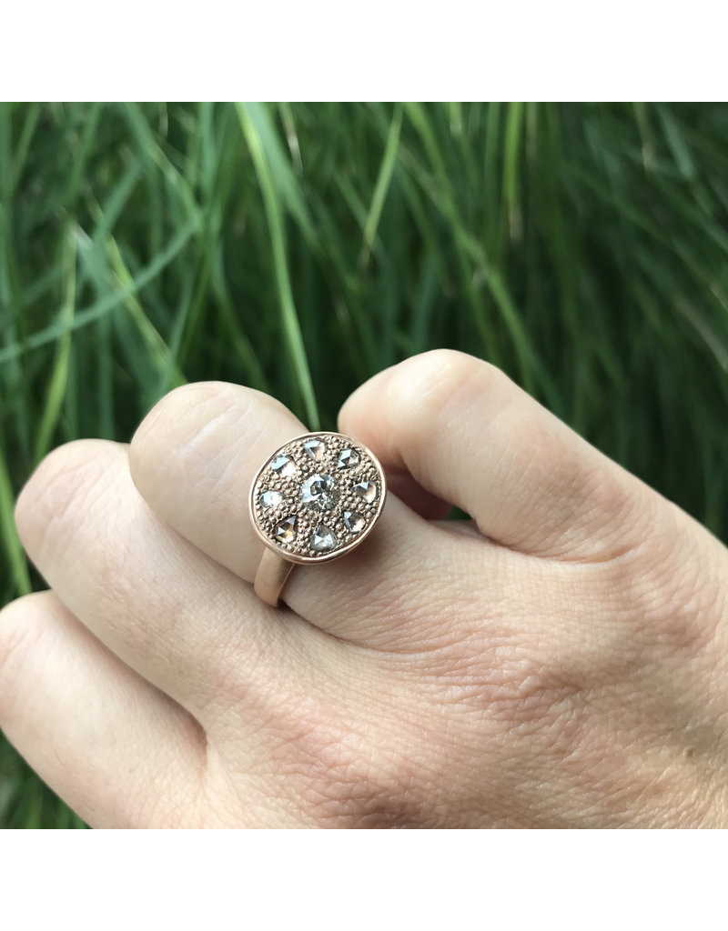 Pave Rose Cut Cognac Diamonds with Center European Cut Diamond in 14k Rose Gold Ring