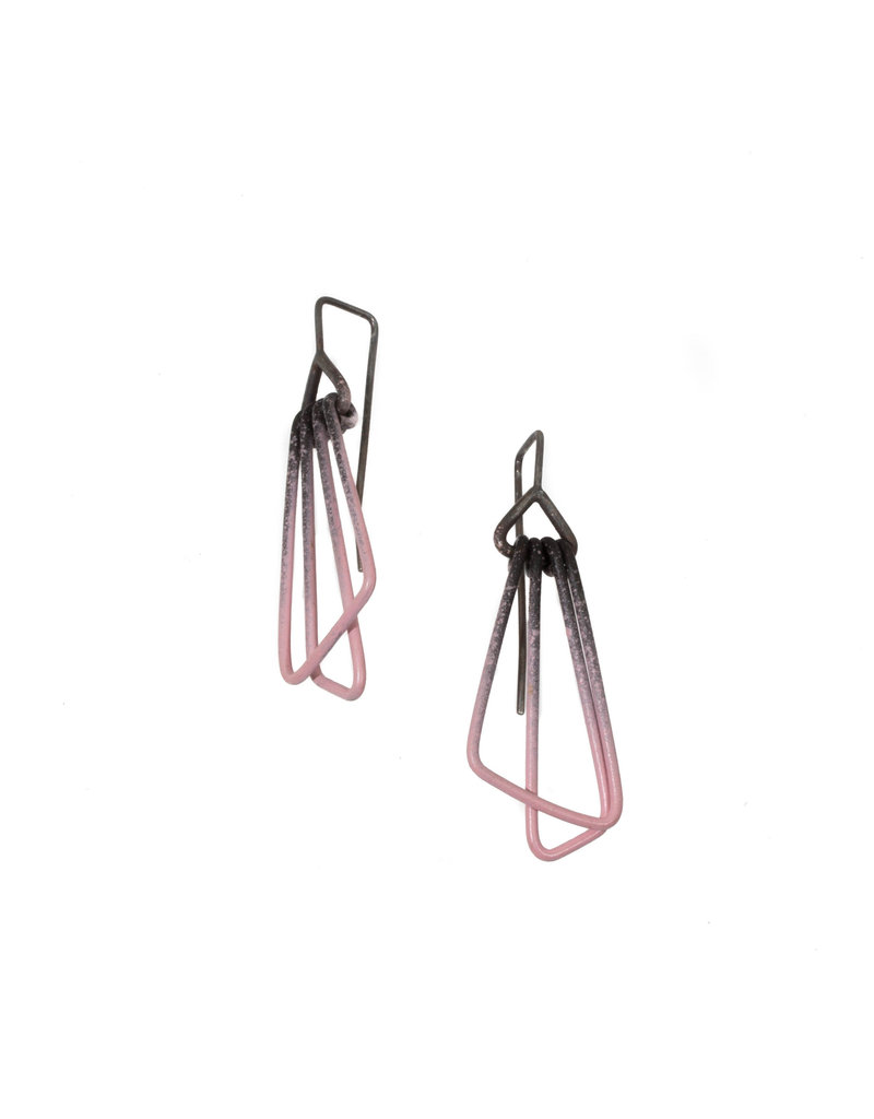 Jera Lodge Angled Duo Tier Earrings in Pink