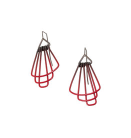 Jera Lodge Mini Deco Three Tier Earrings in Red