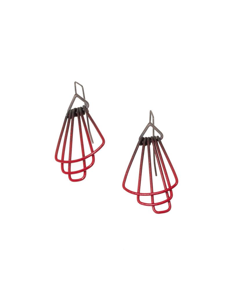 Jera Lodge Mini Deco Three Tier Earrings in Red