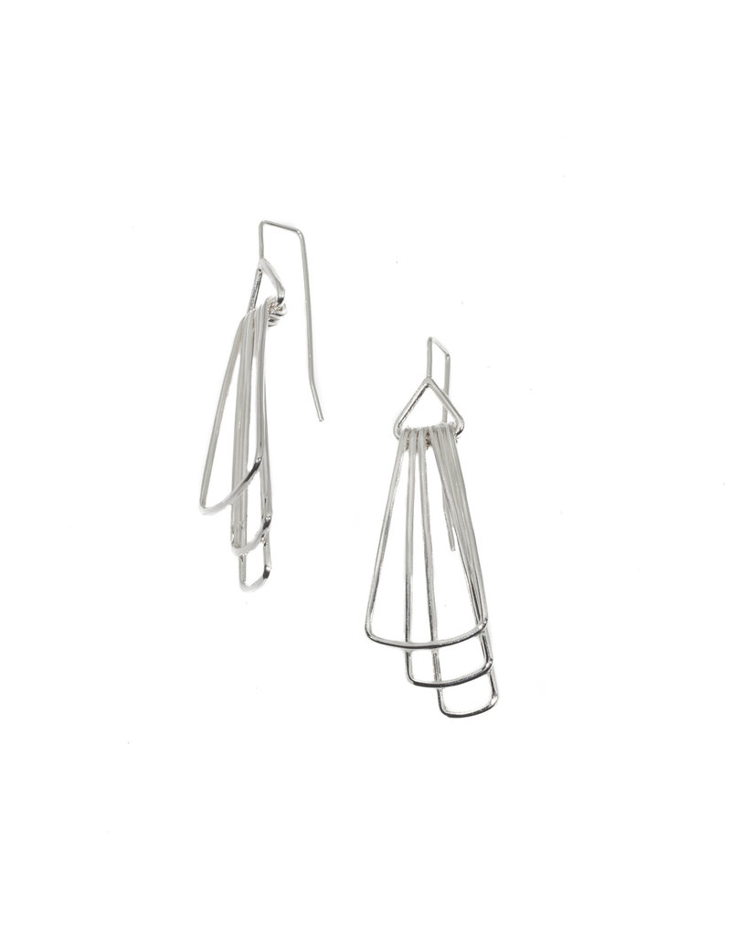 Jera Lodge Mini Long Deco Three Tier Earrings in Bright Silver