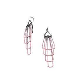 Jera Lodge Medium Deco Four Tier Earrings in Pink