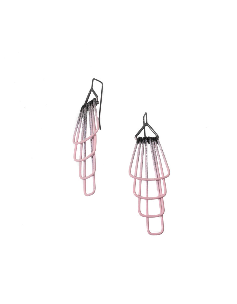Jera Lodge Medium Deco Four Tier Earrings in Pink