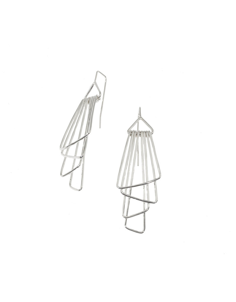 Jera Lodge Medium Angled Deco Four Tier Earrings in Bright Silver