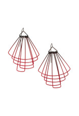 Jera Lodge Medium Deco Fan Earrings in Red