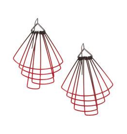 Jera Lodge Medium Deco Fan Earrings in Red