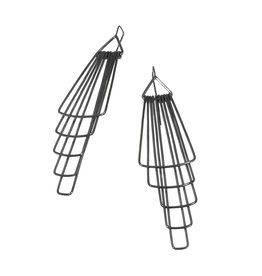 Jera Lodge Original Deco Five Tier Earrings in Oxidized Silver
