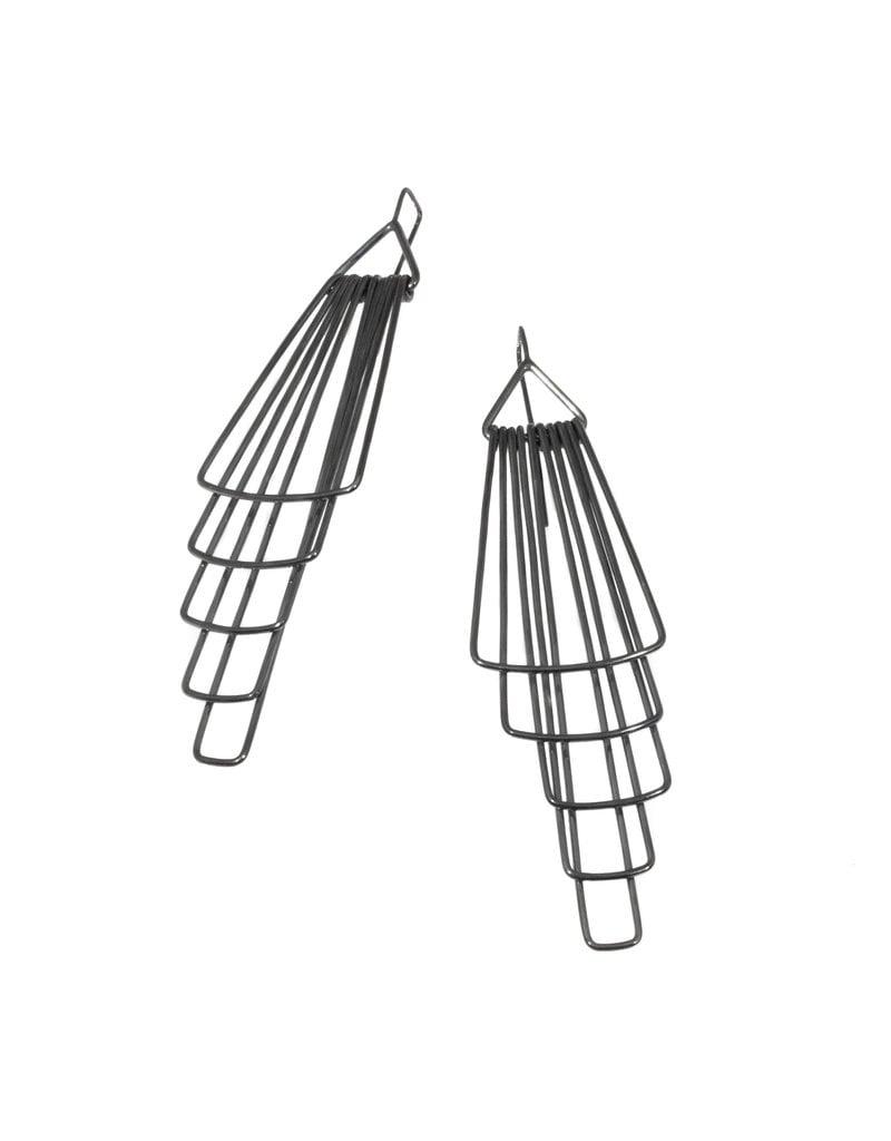 Jera Lodge Original Deco Five Tier Earrings in Oxidized Silver