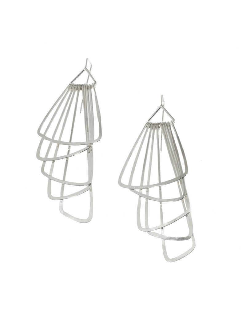 Jera Lodge Angled Deco Five Tier Earrings in Bright Silver