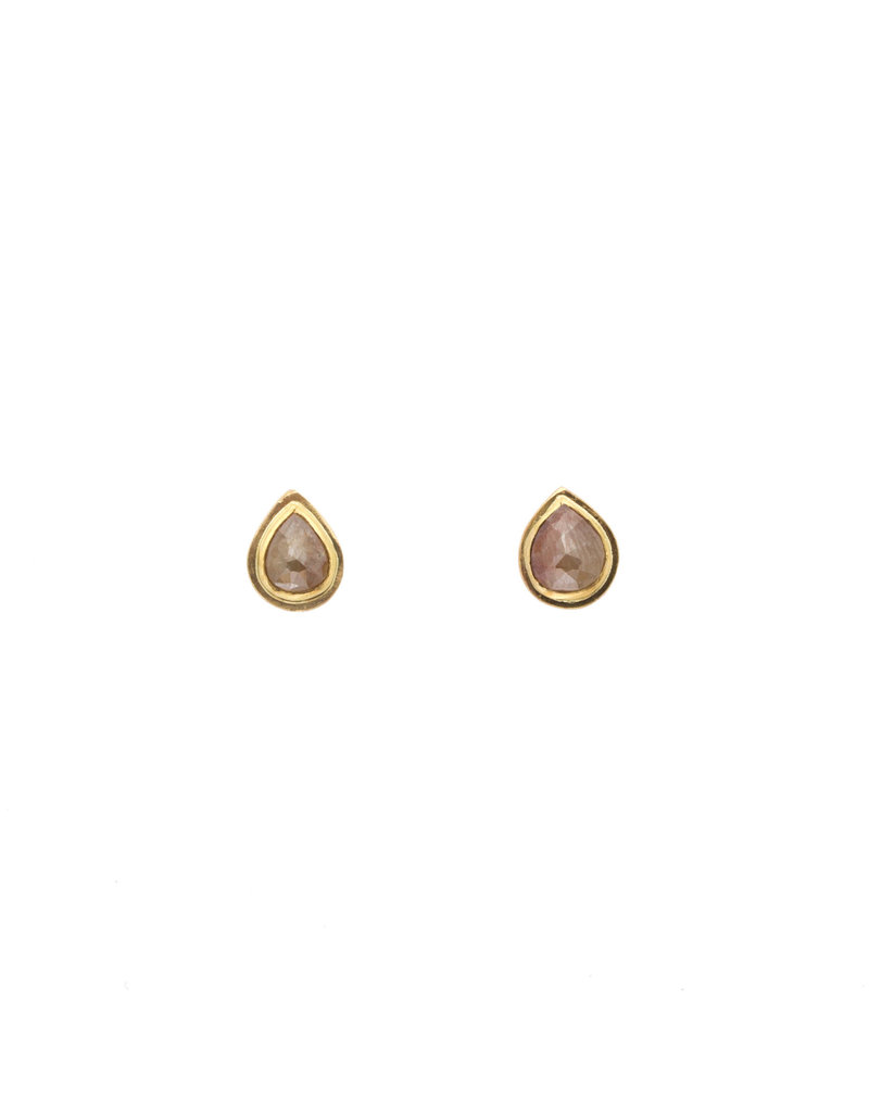 Julia Efimova Teardrop Rosecut Diamond Post Earrings in 14k & 18k Yellow Gold