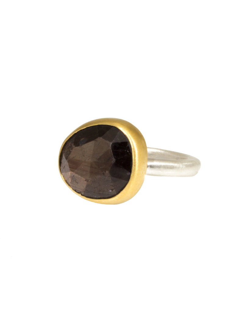 Smaller Taupe Sapphire Ring with 22k Gold Bezel and Silver Shank