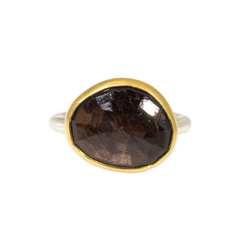 Larger Taupe Sapphire Ring with 22k Gold Bezel and Silver Shank