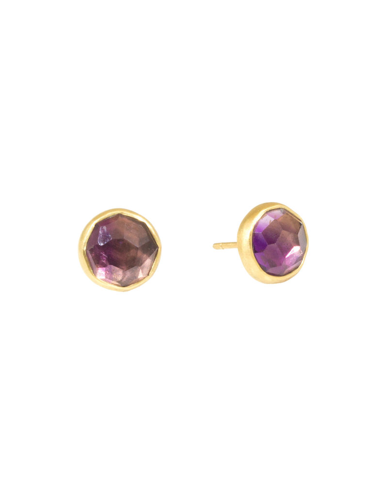 Rosecut Amethyst Post Earrings in 18k Yellow Gold