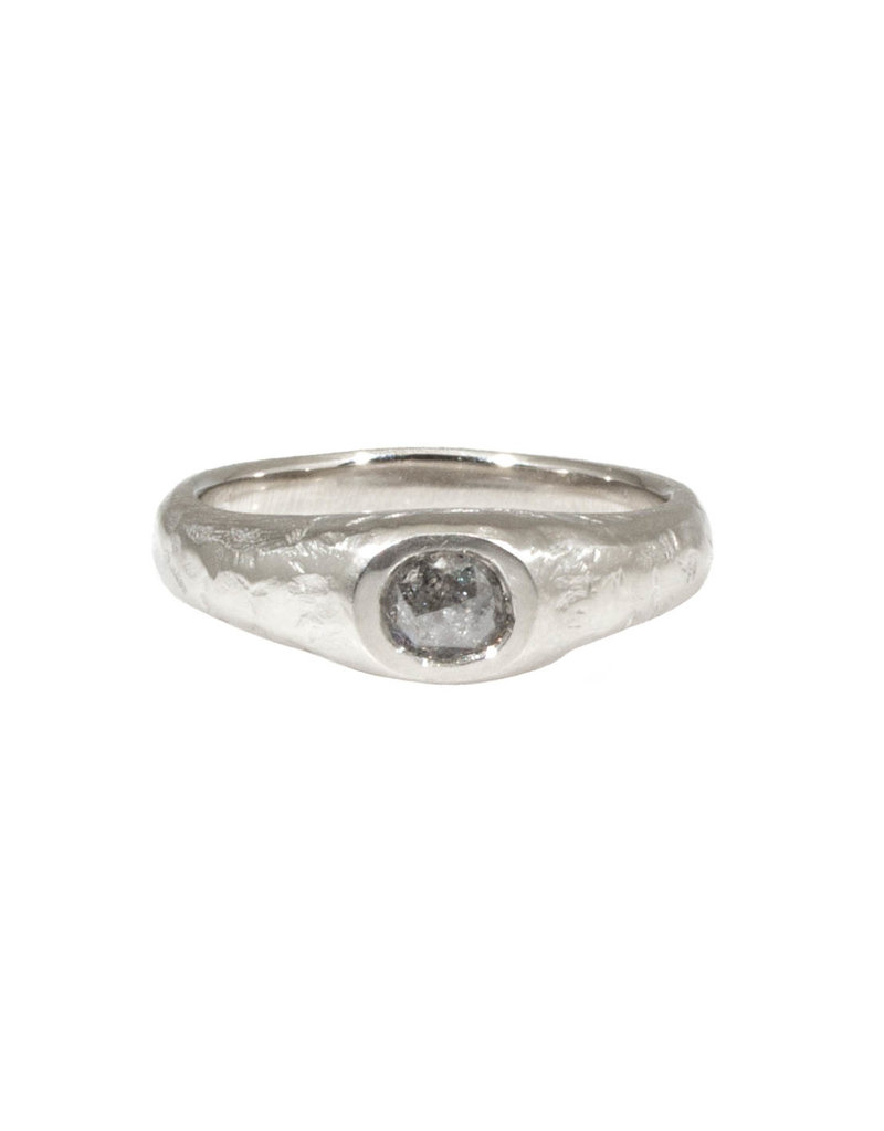 CUSTOM Ancient Band with Salt and Pepper Diamond in 14k White Gold