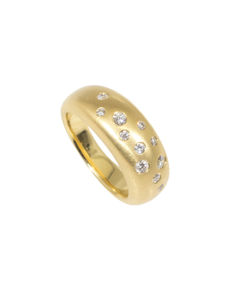 CUSTOM Rounded Ring with Eleven Flush set White diamonds in 18k Yellow Gold