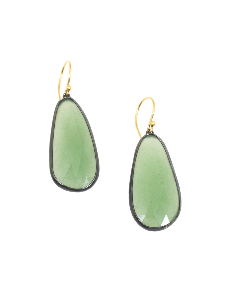 Long Green Sapphire Earrings in Oxidized Silver and 18k Yellow Gold Wires