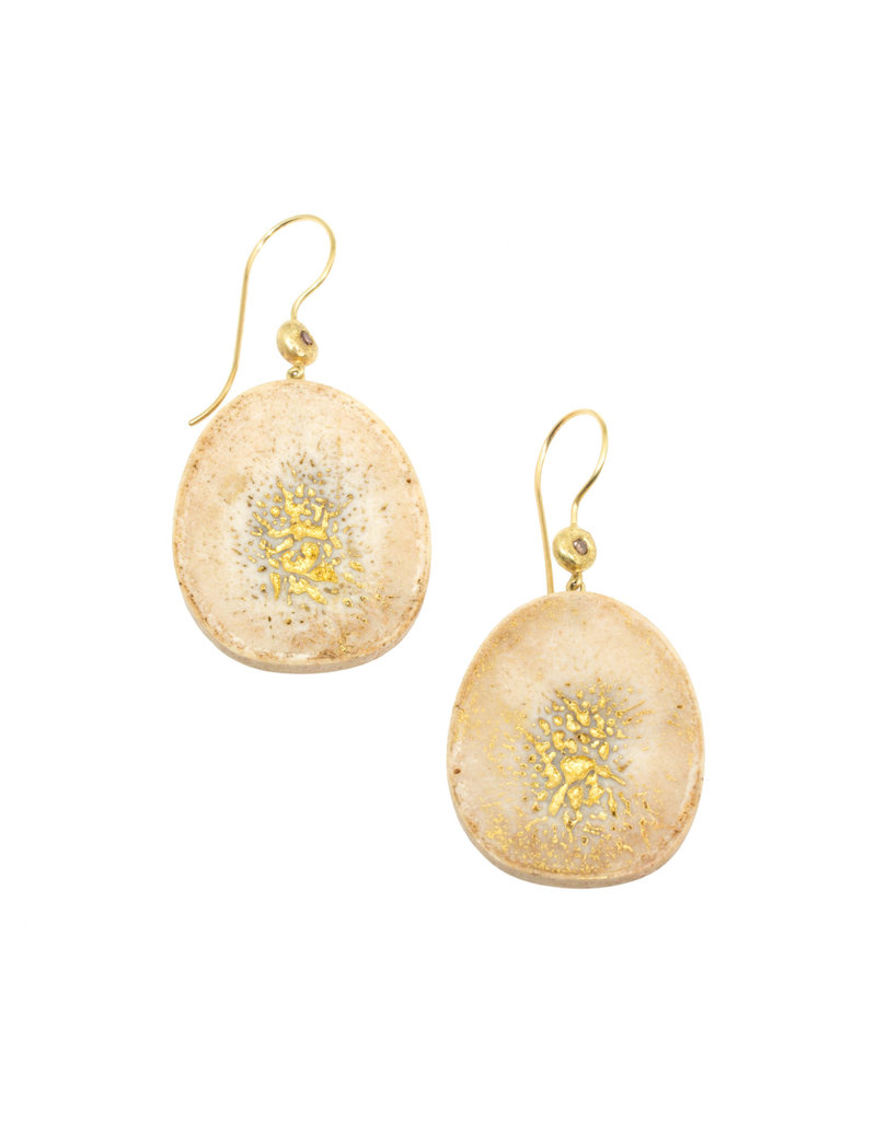 Fossilized Bone Earrings with 18k & 22k Gold and Cognac Diamonds