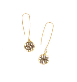 Champagne Diamond Skeleton Drop Earrings in 18k Yellow Gold