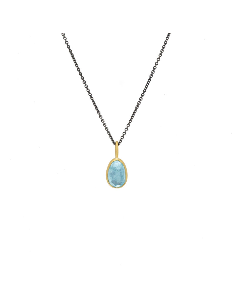 Rosecut Aquamarine Pendant in Silver and 18k Yellow Gold on Oxidized Silver Chain