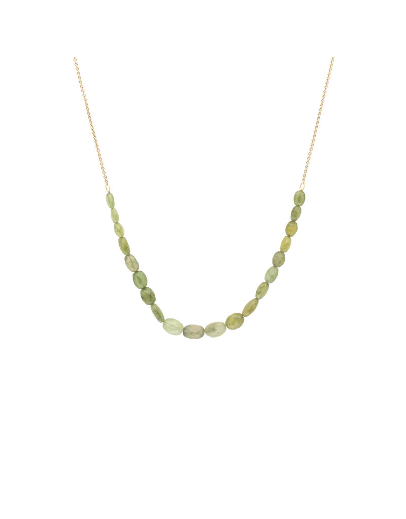 Green Oval Sapphire Bead Necklace on 9k Gold Chain