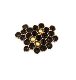Honeycomb Brooch in Bronze and 23k Gold