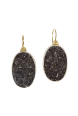 Oval Black Tourmaline Earrings in Oxidized Silver and 18k Yellow Gold