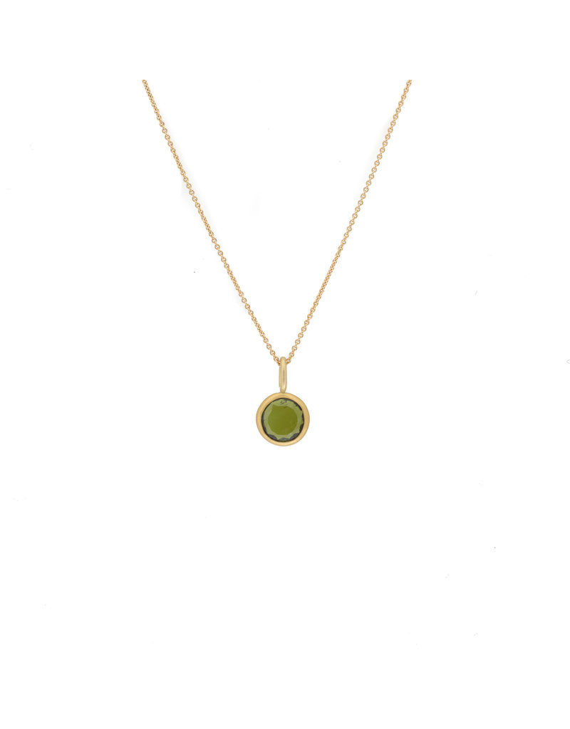 Round Open Green Tourmaline Pendant in 18k & 22k Yellow Gold