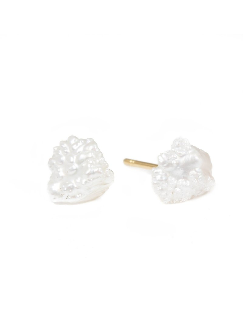Rosebud Pearl Post Earrings with 18k Yellow Gold Post