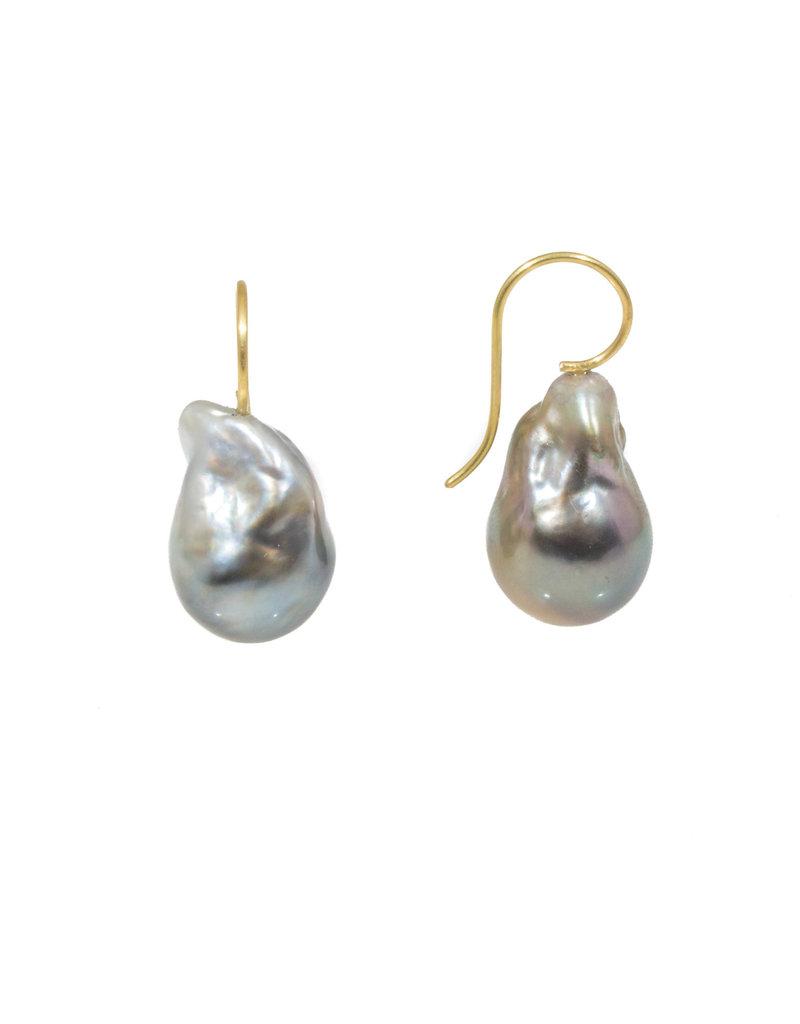 Baroque Pearl Earrings in 18k Yellow Gold