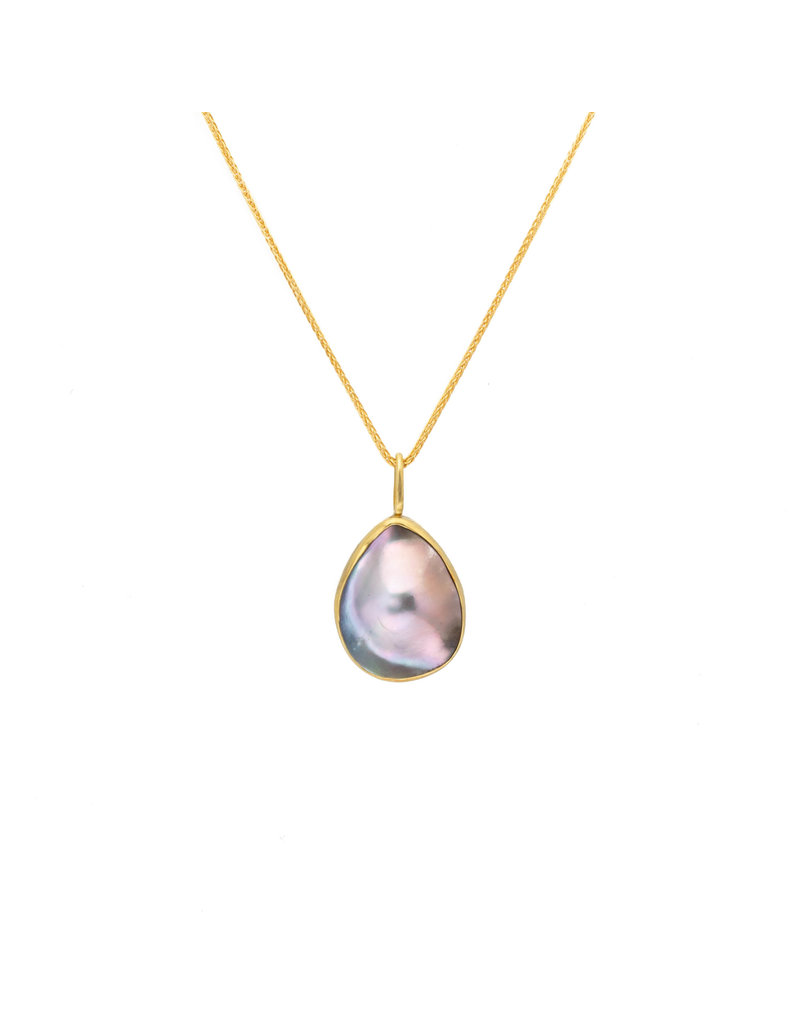 Large Mabe Pearl Pendant in 18k Yellow Gold and Oxidized Silver