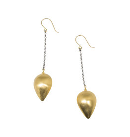 Mew Chiu Teardrop Pod Earrings in 18k Yellow Gold with Oxidized Silver