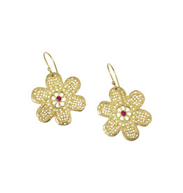 Lace Flower Earrings in 18k Yellow Gold with Rubies