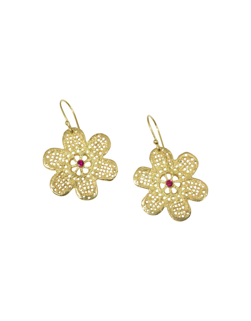 Mew Chiu Lace Flower Earrings in 18k Yellow Gold with Rubies