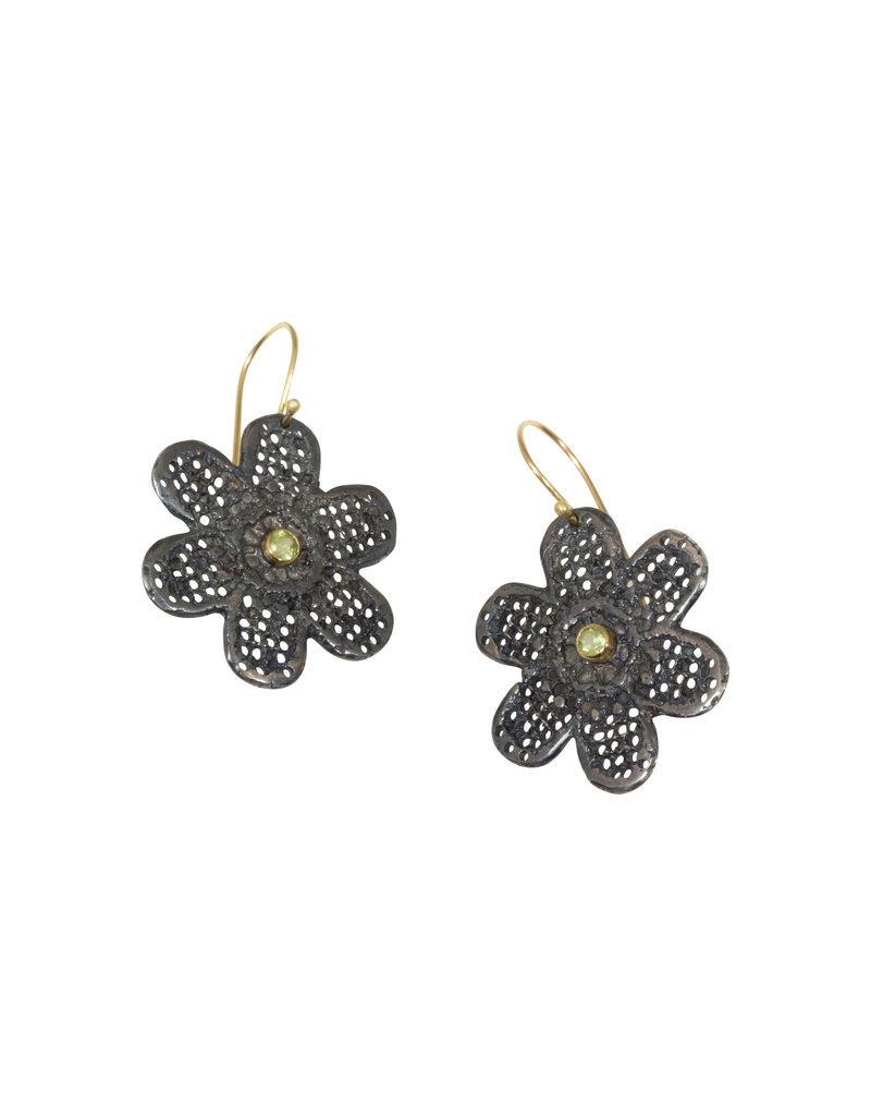 Mew Chiu Lace Flower Earrings in Oxidized Silver with Peridot