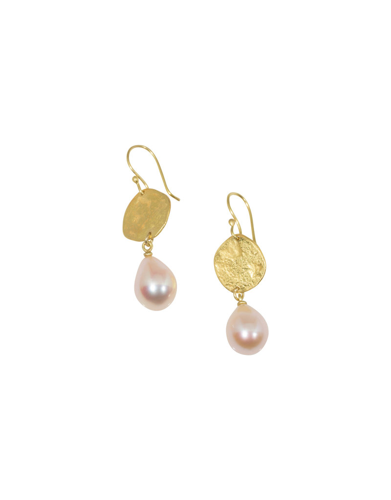 Mew Chiu Recycled Gold Disc Earrings with Pearls in 18k & 20k Yellow Gold