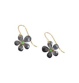 Flower Earrings in Oxidized Silver with Tsavorite Garnet