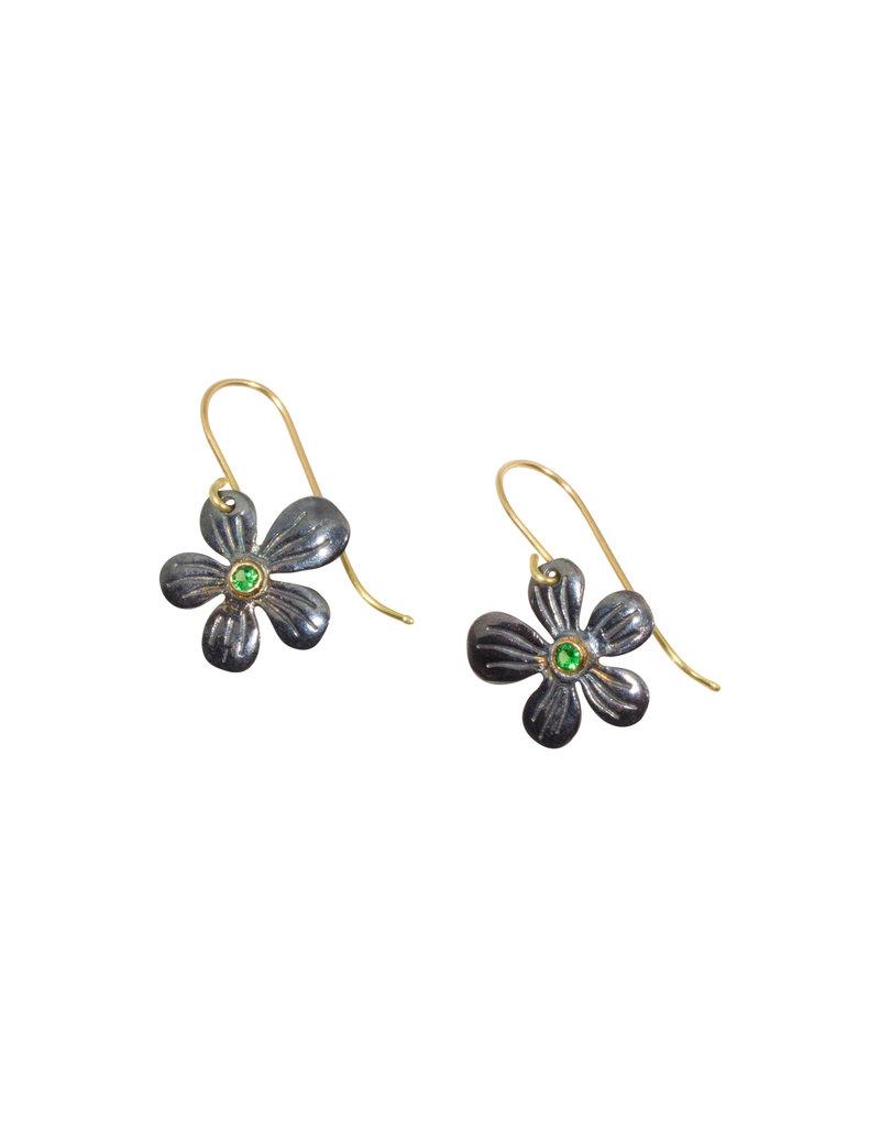 Mew Chiu Flower Earrings in Oxidized Silver with Tsavorite Garnet
