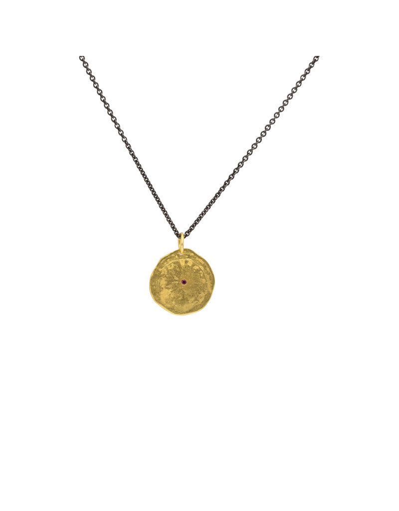 22k Gold Disc Pendant with Ruby