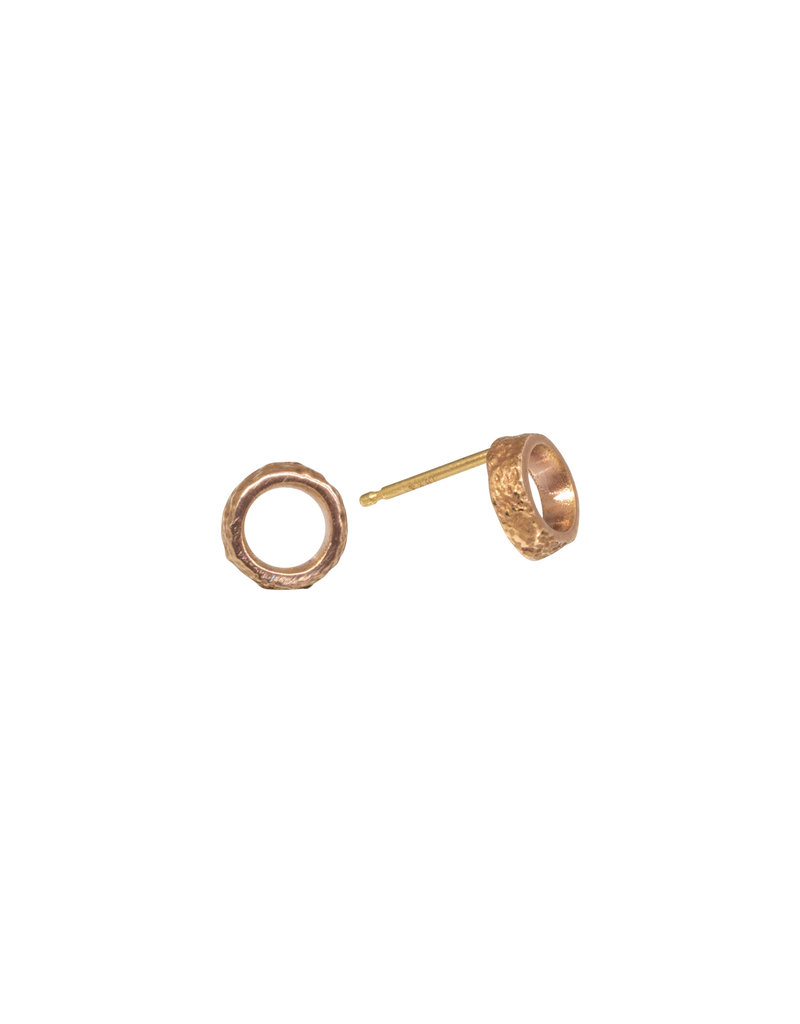 Small Open Sand Circle Post Earrings in 14k Rose Gold