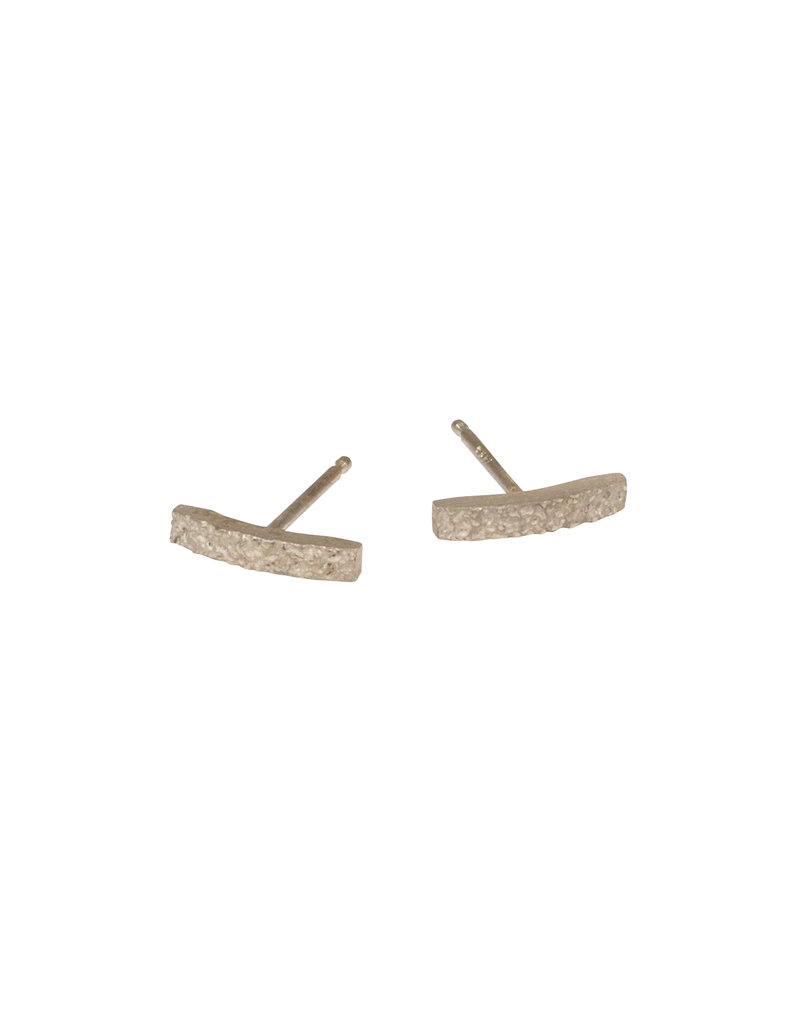 Sand Bar Post Earrings in 14k Palladium White Gold