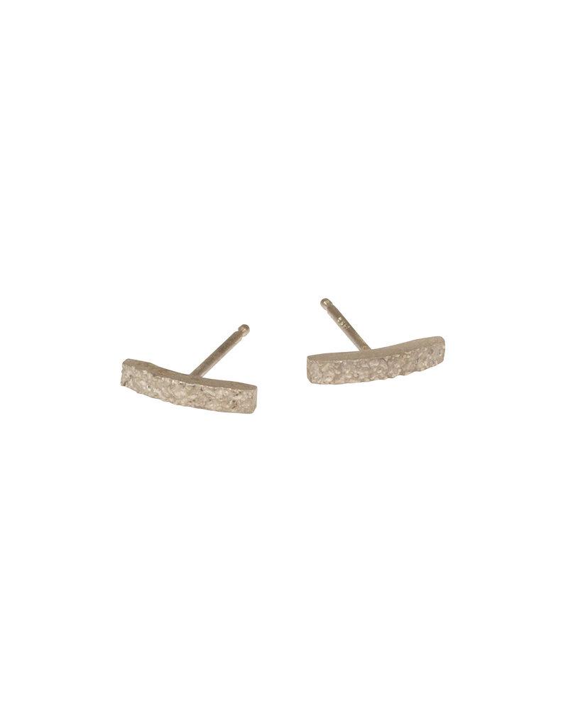 Sand Bar Post Earrings in 14k Palladium White Gold