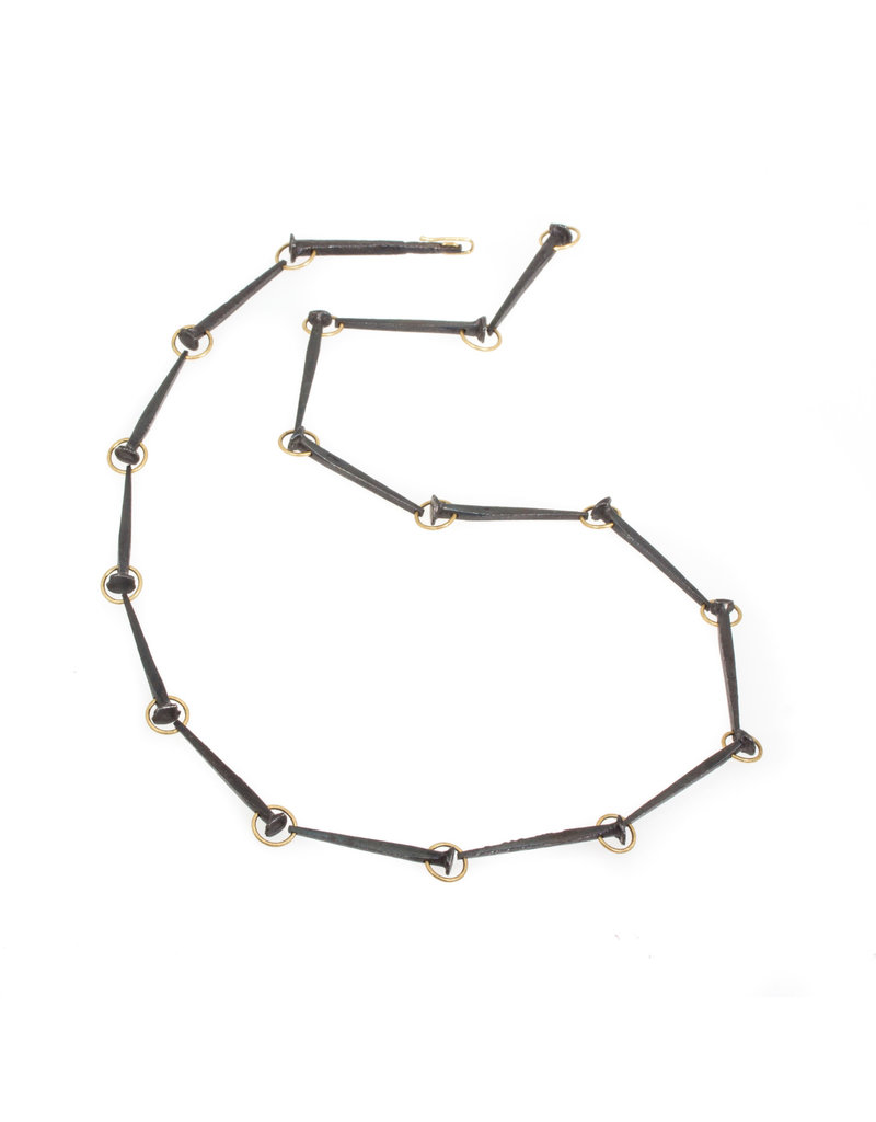 Nail Necklace in Iron and 14k Yellow Gold