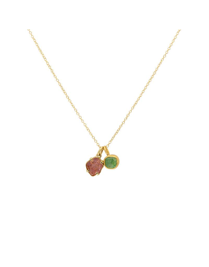Mew Chiu Tsavorite Garnet Pendant in 22k Gold