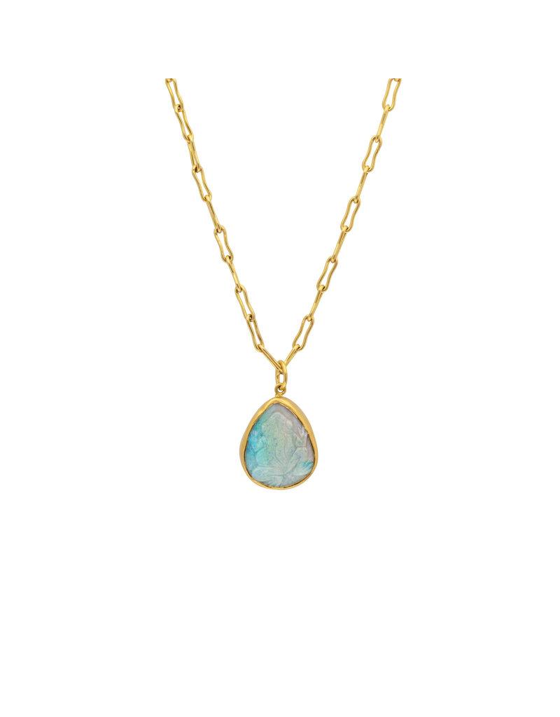 Carved Frog Opal Pendant in 22k Gold